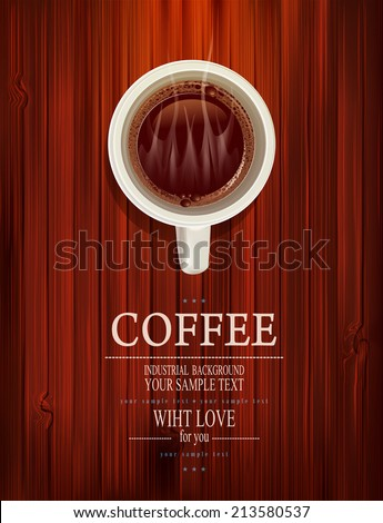 vector cup of coffee on a wooden background - stock vector
