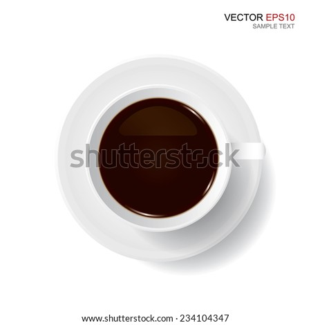 Vector cup of coffee on white background. - stock vector