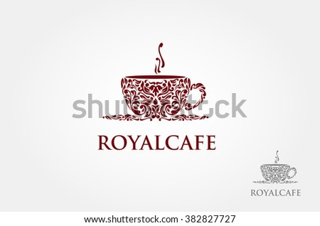 Vector Cup of Coffee with Floral Aroma Pattern Isolated on White Background, vector logo  - stock vector