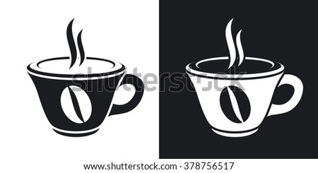 Vector cup of hot coffee icon. Two-tone version on black and white background - stock vector