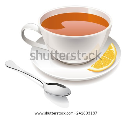 Vector Cup of tea with lemon and spoon - stock vector