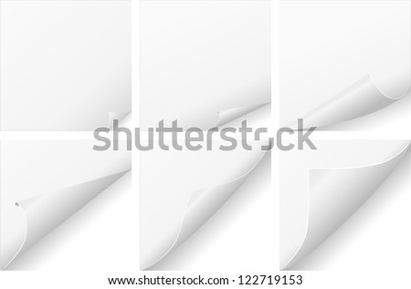 vector curled paper set - stock vector