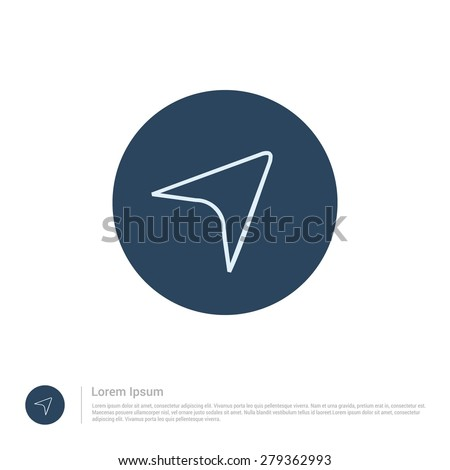 vector Current Location map marker arrow icon thin line for web and mobile, modern minimalistic flat design. Vector outline icon and offset colour on light white background - stock vector