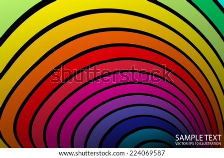 Vector curved rainbow background arcs - Vector rainbow abstract background illustration - stock vector
