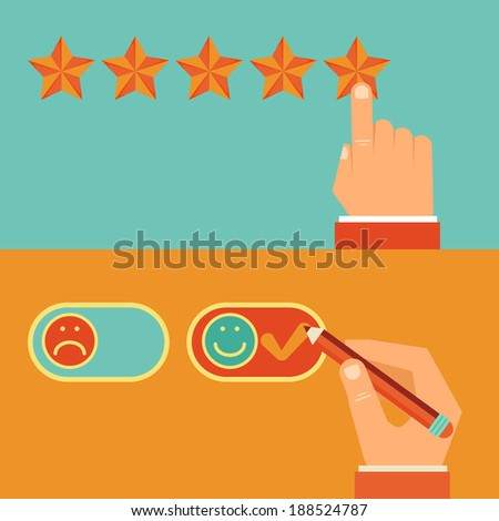 Vector customer review concepts in flat style - male hand choosing positive review - stock vector
