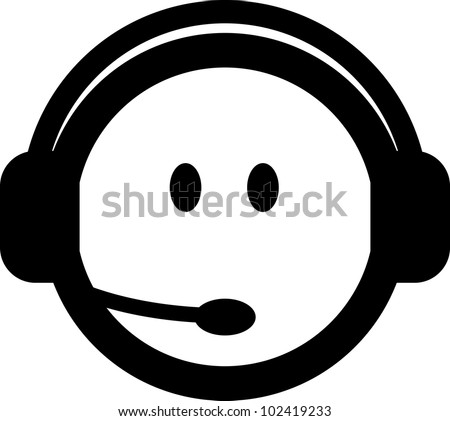 Vector customer service consultant with headset icon isolated - stock vector