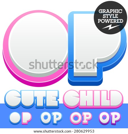 Vector cute alphabet for children. Nice white with blue  or pink letters and numbers for boys and girls. Letters O P - stock vector