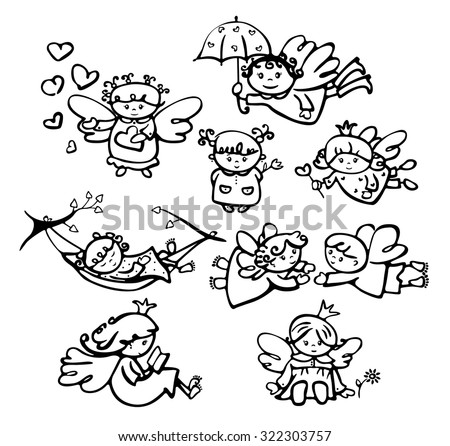 Vector cute angels cartoons silhouettes. - stock vector