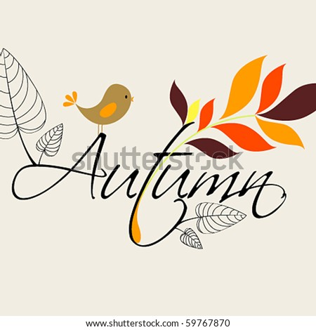 Vector cute autumn illustration - stock vector