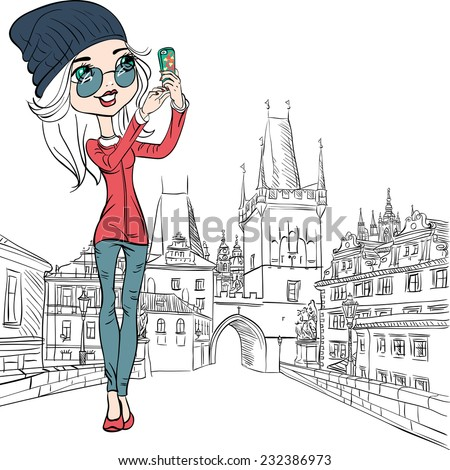 Vector Cute beautiful fashionable girl makes selfie on the Charles Bridge in Prague - stock vector