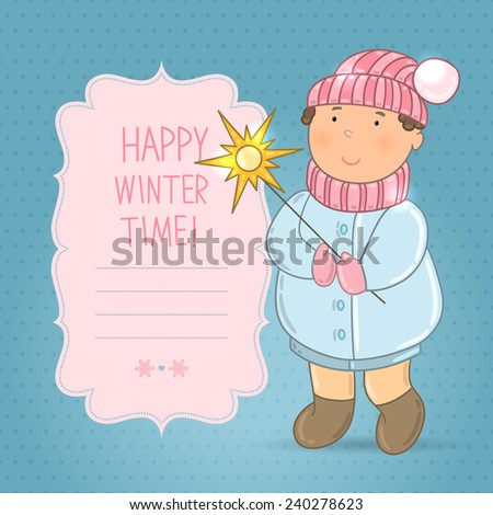 "Vector cute boy in winter clothing with a star. Children dressed warmly. Background with teenager. Frame with words ""Happy winter time"". Festive blue wallpaper for invitations, greetings. - stock vector"