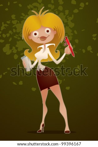 vector  cute business woman - stock vector