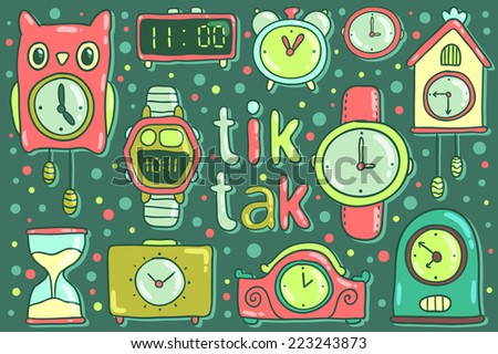 Vector cute cartoon clocks and watches. Illustration for your design. Time objects. - stock vector