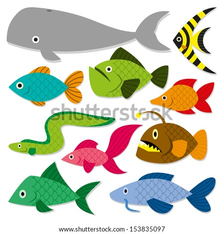 Vector Cute Cartoon Different Fishes Isolated Set - stock vector
