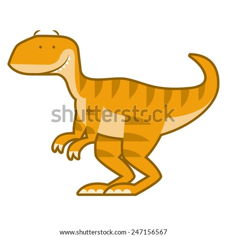 Vector Cute Cartoon Dinosaur Isolated On White Background - stock vector