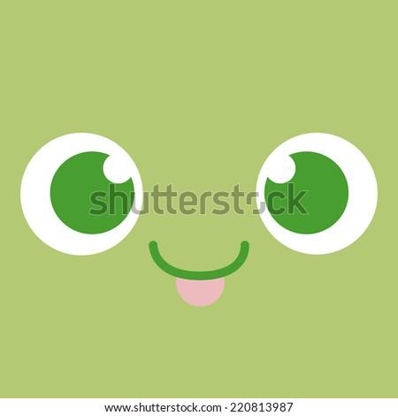 Vector Cute Cartoon Face With Tongue Out Editable - stock vector
