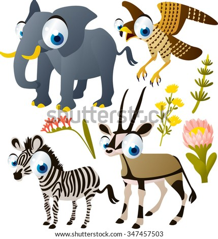 vector cute cartoon funny collection set. African animal, dogs, sea life, birds and dinosaurs. For kids apps or books. Elephant, falcon, zebra, oryx isolated on white. - stock vector