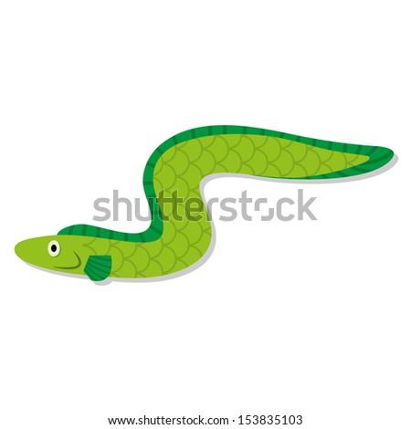 Vector Cute Cartoon Green Eel Isolated Icon - stock vector