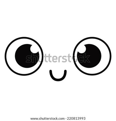 Vector Cute Cartoon Happy Face Editable - stock vector