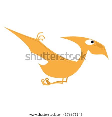 Vector Cute Cartoon Orange Dinosaur Isolated - stock vector