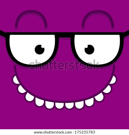 Vector Cute Cartoon Purple Face With Glasses - stock vector
