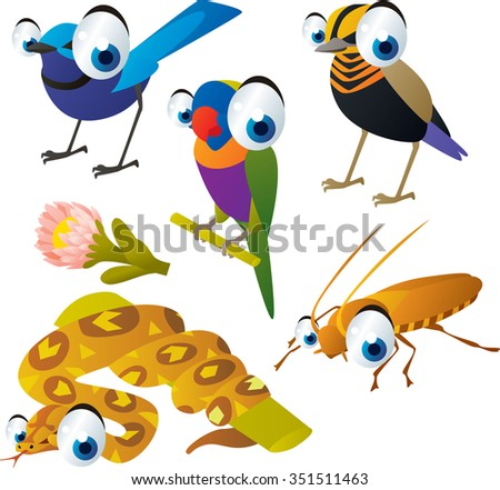 vector cute cartoon set of comic animals: birds, parrot, boa, cockroach. useful for kids mobile apps, flash card games, invitations, wall decor and other - stock vector