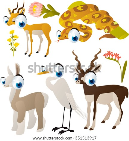 vector cute cartoon set of comic animals:impala, boa, llama, egret, antelope. useful for kids mobile apps, flash card games, invitations, wall decor and other - stock vector