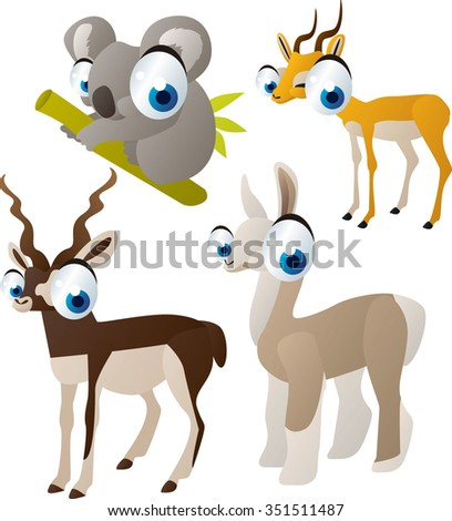 vector cute cartoon set of comic animals: koala, antelope,impala, llama. useful for kids mobile apps, flash card games, invitations, wall decor and other - stock vector