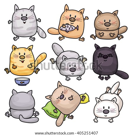 Vector cute cats cartoons isolated. - stock vector