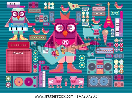 vector cute colorful cartoon band - stock vector