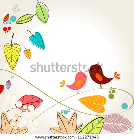 Vector cute, colorful, hand drawn style autumn leaves and birds background illustration - stock vector