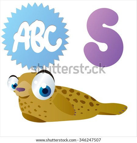vector cute comic animals ABC: S is for funny Seal - stock vector