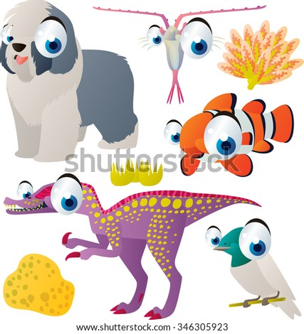vector cute comic cartoon animals set for book or app or cards or banner or sticker illustration: dog, plankton, clown fish, dinosaur, bird - stock vector
