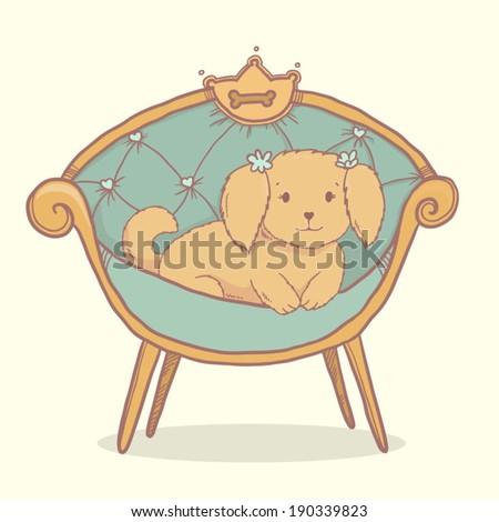 Vector cute dog  Shih tzu sitting in armchair like a princess - stock vector