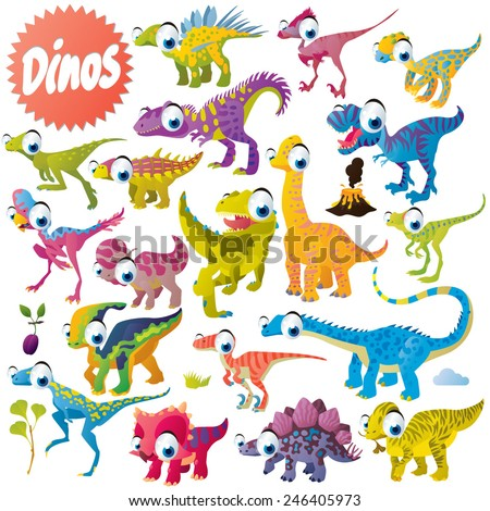 vector cute funny cartoon isolated dinosaur set - stock vector