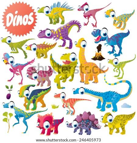 vector cute funny cartoon isolated dinosaur set - stock vector