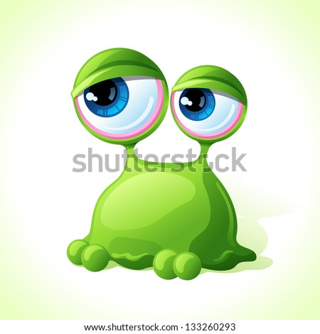 Vector cute green monster isolated on white background. - stock vector