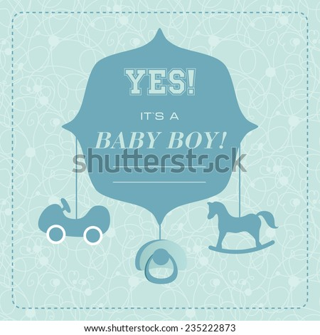 Vector cute greeting card. It's a boy card design. Vector illustration with cartoon rocking horse, car,baby's dummy.  - stock vector