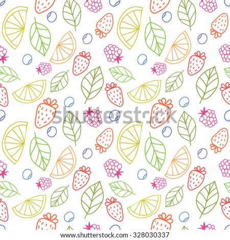 Vector cute hand drawing fruits seamless pattern background. Strawberry, lime, orange, blueberries, raspberries, mint fresh healthy food. - stock vector