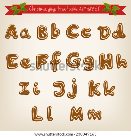Vector cute hand drawn Christmas gingerbread cookie alphabet - stock vector