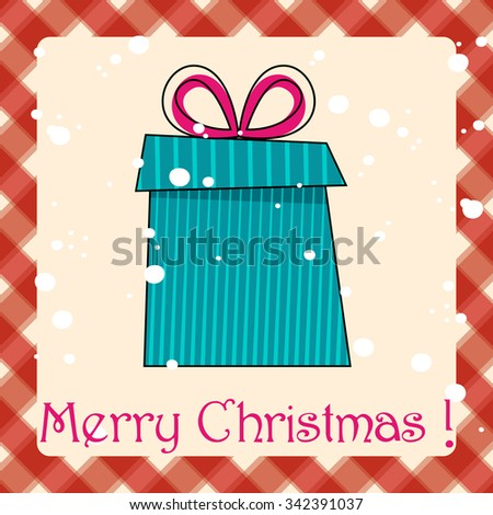 Vector cute hand drawn style Christmas greeting card with gift box - stock vector