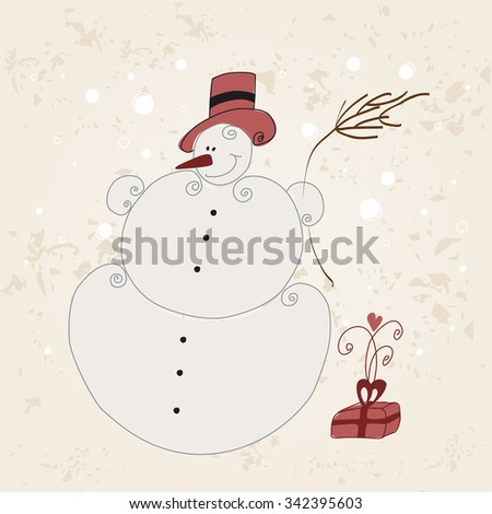 Vector cute hand drawn style Christmas greeting card with snowman - stock vector