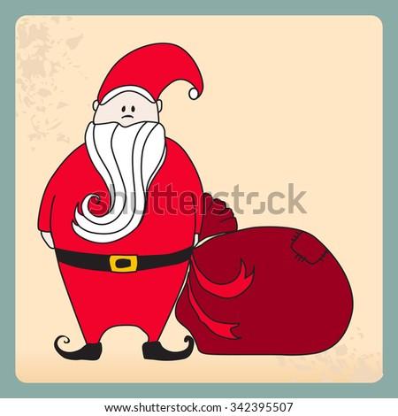 Vector cute, hand drawn style retro illustration of Santa Claus - stock vector