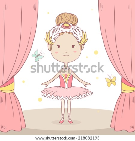 Vector cute illustration of a happy little  ballerina on stage - stock vector