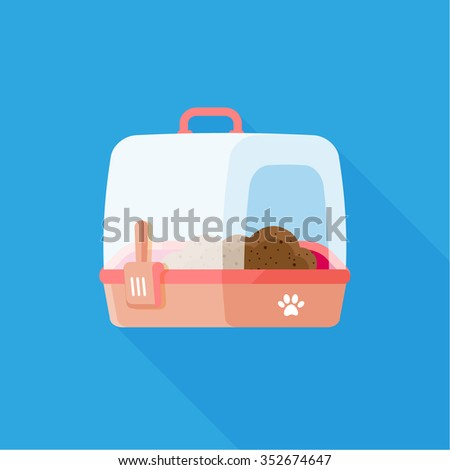 vector cute kitten litter box with scoop / pet travel cage, pets carrier / portable handles / pink on blue - stock vector