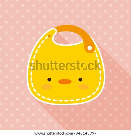 vector cute little yellow duck baby bib / flat icon - stock vector