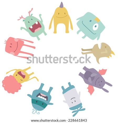 Vector cute monsters circle frame isolated on white background - stock vector