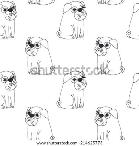 Vector cute pug pattern - stock vector