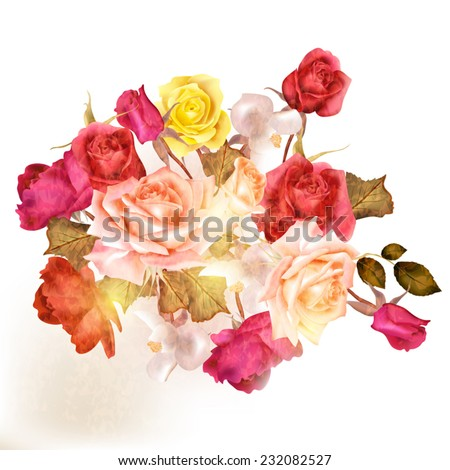 Vector cute roses in vintage style for design - stock vector