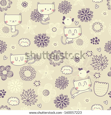 Vector cute seamless floral pattern with funny cats and birds - stock vector